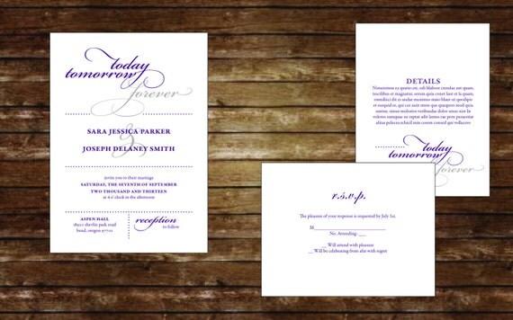 Today & Tomorrow Printable Invitation Suite, Wedding Invitations, Digital Invitations, Custom Invitations