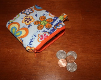 Multicolored sparkly flowered zippered coin pouch/change purse