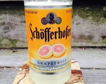 Grapefruit Soy Candle Recycled Beer Bottle Candle
