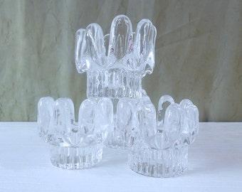 Set of 4 Kosta Boda Sunflower Candle Holders - Designed by Göran Wärff for Kosta Boda Sweden