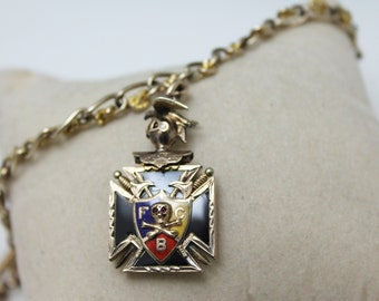 Vintage Pocket Watch CHAIN with Knights of Pythias Fob