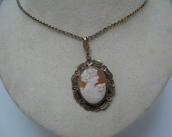 Gold Filled Cameo Locket with Two places for Photos on Back