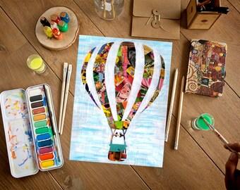 Hot Air Balloon baby nursery decor, hot air balloon art print, Adventure awaits, bohemian decor, kids room art, kids room decor
