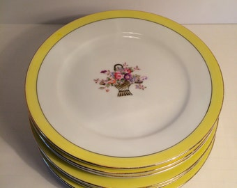 Set of 7 Vintage Floral Dessert or Salad Plates, Yellow Edge, by Noritake, Shabby Chic