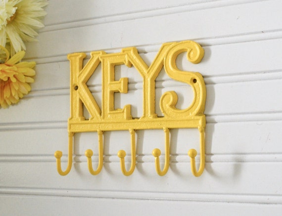 Yellow key rack key hook key holder key wall decor wall for Mural key holder