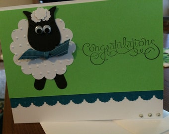 Adorable baby sheep shower card-baby shower or arrival card-teal, green, black and white baby card