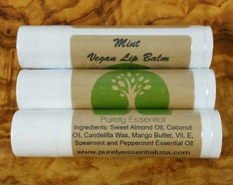 Mint Lip Balm, Vegan Lip Balm, Organic Lip Balm, All Natural Lip Balm, Vegan Beauty, Vegan Skincare, Cruelty Free, Gluten Free
