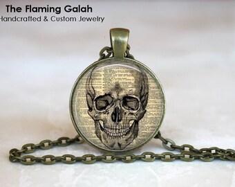 HUMAN SKULL Pendant • Newspaper Print Skull • Gothic Skull • Steampunk Skull • Gift Under 20 • Made in Australia (P0586)