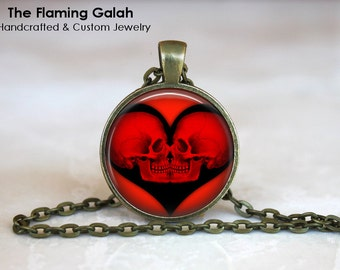 RED SKULL HEART Pendant • Gothic Heart • Anatomy Jewelry • Anatomical Gothic • Kissing Skulls • Gift Under 20 • Made in Australia (P1148)