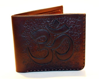 Leather wallet with Om symbol, Handmade leather wallet, Om symbol, Yoga, Great gift, Great gift for women, Great gift for men.