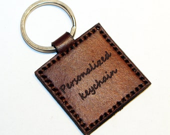Personalized leather key chain , anniversary gift, custom keychain, great handmade leather gift, heart key chain