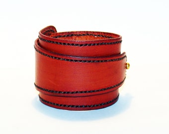 Orange Leather Cuff!Orange Bracelet! Great Gift! Orange Cuff! Very Nice Bracelet!