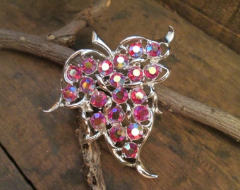 vintage silver tone sara coventry red aurora borealis leaf pendant and brooch