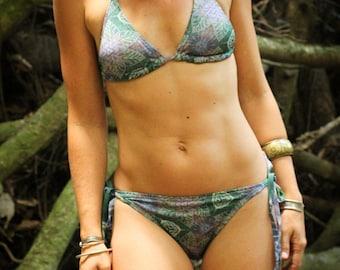 Fairy Dawn Crystalotus Bikini, Fractal print Bikini, art print swimwear, psychedelic bikini, leafy bikini, mandala bikini