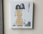 John Lennon + Yoko Ono sign ( Don't hate what you don't understand!) Peace out! Embroidery