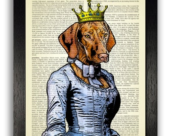 PRINCESS VIZSLA Dog Art Print, Dog Wall Decor, Dog Dictionary Art Print, Dog Gift, Wall Art, Dog Illustration Artwork Poster Gift Print Art