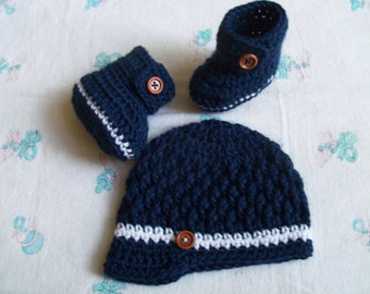 New Handmade Crochet Baby Boy Hat, Booties and Personalized Onesie (0-3 months, 3-6 months)