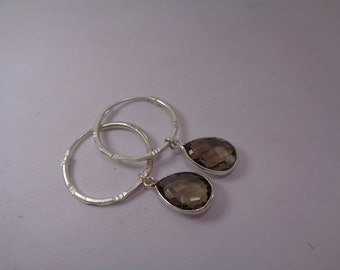 Christmas Sale - Smoky Quartz Earring, Hoop Earring, Dangle Earrings, Silver Earring, Birthday Gift
