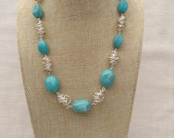 Turquoise and Silver Twist Necklace