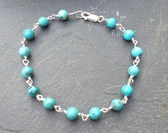 Natural Turquoise & Sterling Silver Bracelet
