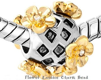 Silver Plated FLORAL European Bead Charm Lattice Charm BEAD~ Fits most all European / Pandora Charm Bracelets and Necklaces