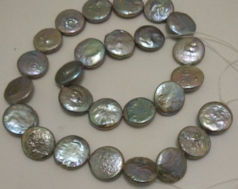 16 inches 14-15mm Silver Natural Coin Pearl Loose Strand