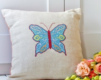 Modern cross stitch downloadable pattern - marbled butterfly