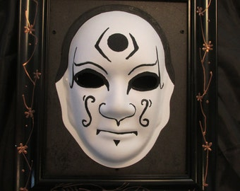 3D Kabuki wall art. Kabuki mask. Japanese decoration art.  Oriental art.  Frame.
