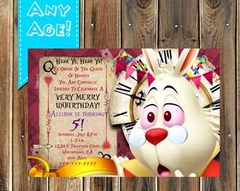 Alice in Wonderland Birthday Party - White Rabbit INVITATION - Alice Party Printables - Alice in wonderland Invitation, Kids party Printable