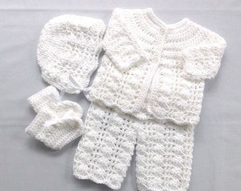 0 to 4 months baby set - Infant layette - Baby shower gift - Crochet white baby set - Infant crochet set