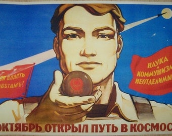"Russian Soviet Space communist poster ""The October opened the way in Cosmos"""