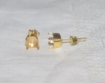 Gold 6mm Post Stud Earrings Jewelry Settings for 6mm Swarovski Crystal Elements