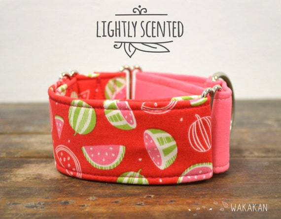 Martingale dog collar model Watermelon Scented. Adjustable and handmade with 100% cotton fabric. summer time Wakakan