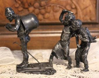 Heavy Metal Bronze lk Sculpture Mischief Children Teasing Man