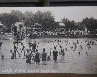 Real Photo Postcard Swimming Glen Rose, TX AZO RPPC 1918-1930