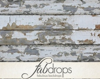 5x7 Weathered White Paint Backdrop | Peeling wood Photography Backdrop - Fab Vinyl 5'x7' ft  (FV0516)