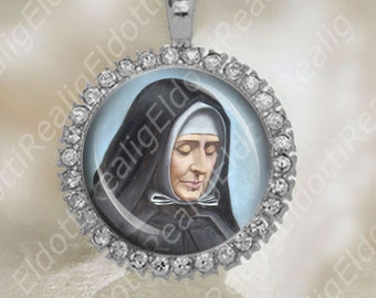 St Jeanne Jugan Sister Mary of the Cross Catholic Medal Silver Tone Size 34x42mm