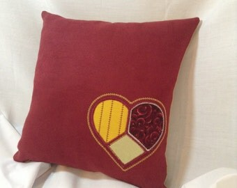 Burgandy Pillow with Heart
