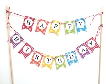 Happy Birthday Cake Topper Flag Garland Banner/Bunting Rainbow