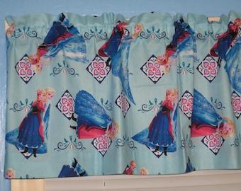 Handmade Elsa And Anna Blue Pink  Curtain VALANCE