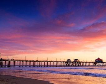 Beach photography. Purple Sunset photography giclee print. Huntington Beach Pier Fine Art Print. Ocean Photography. Sunset Beach Wall Decor