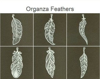 Organza Feathers Machine Embroidery Designs Instant Download 5x5 hoop 10 designs APE2252