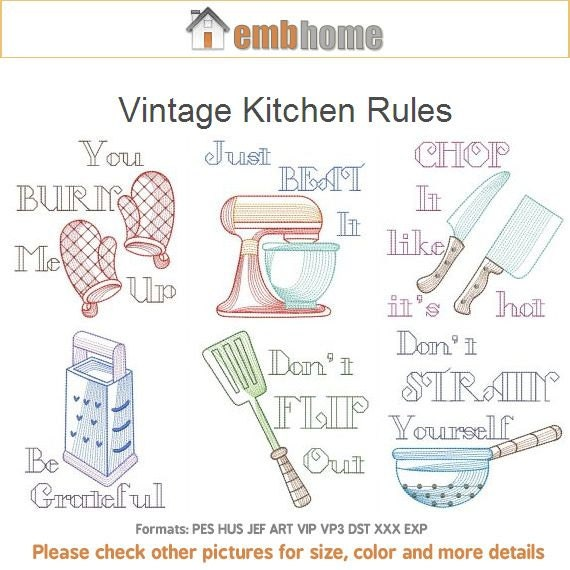 Vintage Kitchen Rules Machine Embroidery Designs Pack Instant Download 4x4 5x5 Hoop 10 Designs