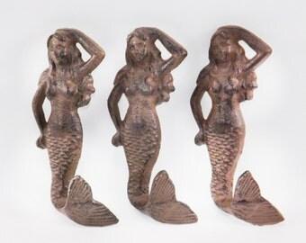 Set of 3 Mermaid Hooks // Mermaid Decor // DIY Crafts // Nursery // Nautical // Mermaid Hook // Rustic
