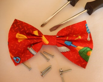 Red with Tools hair bow Handmade Hair Accessory