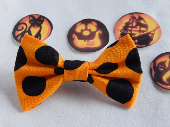 Orange with Big Black Dots small hair bow Handmade Hair Accessory