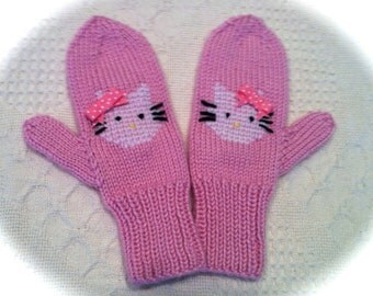 Hand Knit Kitty Mittens/Hello Kitty design/Made to order