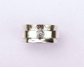 RG611 - Sterling Silver Spinner Ring with gemstone accent - meditation ring - prayer ring - gemstone ring - silver ring - ecofriendly