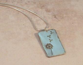 PE760- Sterling Silver Dandelion Pendant- dandelion jewelry - handstamped pendant - sterling necklace