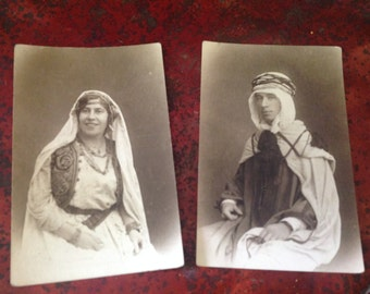2 vintage postcards, Arabic traditional costume